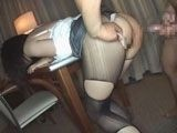 Guy Rip Girlfriends Nylons And Share Her With His Friend