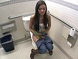 Nasty Girl Gets Interrupted With Sex In Public Toilet