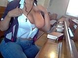 Naughty Girl Masturbates In Church