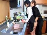 Japanese Boy Blackmail and Fuck Uncles Wife in kitchen