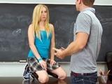 Nasty Blonde Schoolgirl Fucks Her Teacher For A Grade