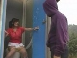 Japanese Schoolgirl Regrets For Entering This Public Toilet