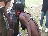 100s Of Black Guys Fucking African Hooker In Public Park