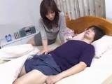 Japanese Mom Surprised with Boys Morning Boner