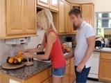 Crazy Boy Surprised GFs Mom In The Kitchen
