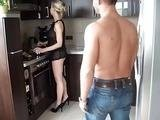 Sexy Mom Interrupted In The Kitchen By Young Boy