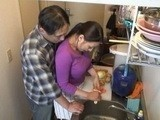 Dad Likes To Help Maid In Kitchen While Mom Is Not at Home