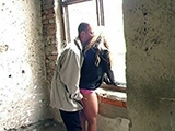 Slutty Teen Lured To An Old Building Where Fucked By Two Perverts