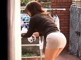 Mom Attracts Attention Of Neighbors Boy While Spreads Underwear